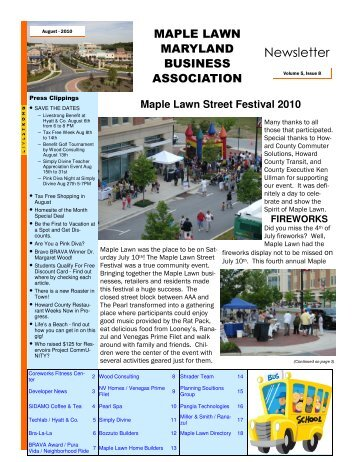 Maple Lawn Maryland Business Association Newsletter - August