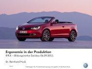 Ergonomie in der Produktion - Volkswagen AutoUni