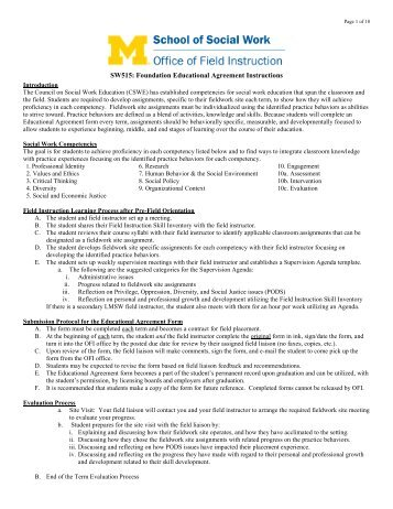 Foundation Educational Agreement Form (SW 515) - University of ...
