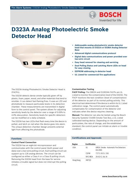 D323a Analog Photoelectric Smoke Detector Head