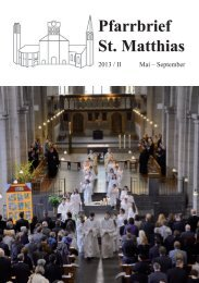 Pfarrbrief St. Matthias Pfarrbrief St. Matthias