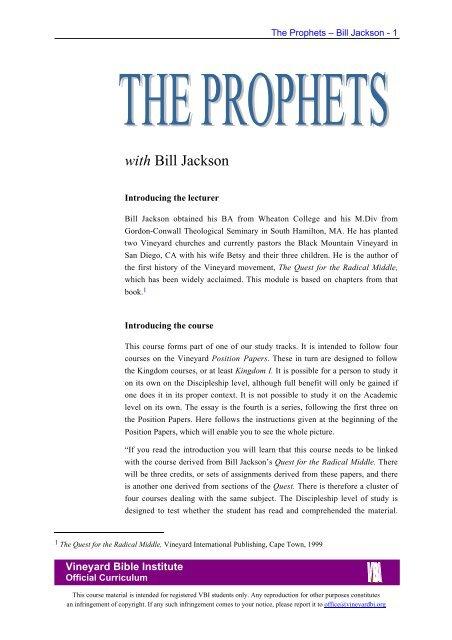 The Prophets - Vineyard Biblical Institute