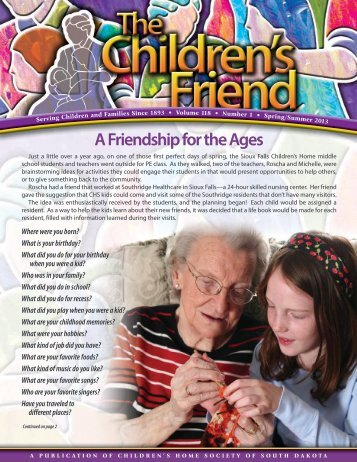 A Friendship for the Ages - Children's Home Society