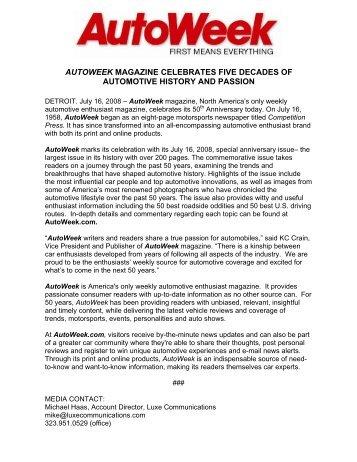 AUTOWEEK MAGAZINE CELEBRATES FIVE DECADES OF ...