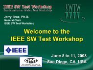 Welcome to SWTW - 2008 - Semiconductor Wafer Test Workshop