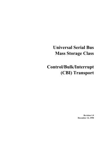 Universal Serial Bus Mass Storage Class Control/Bulk/Interrupt (CBI ...