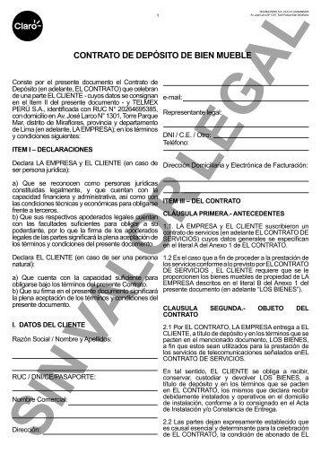 CONTRATO DE DEPÓSITO DE BIEN MUEBLE - Claro