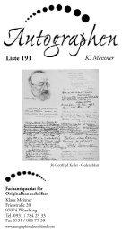 K. Meixner Liste 191 - Autographen Deutschland