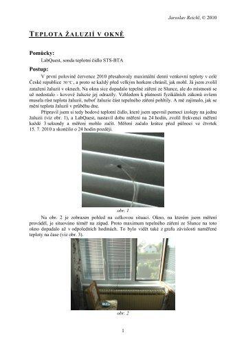 Teplota žaluzie v okně - Jaroslav Reichl