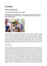 Cyclisme Choc de générations - Club Cycliste Saint Louisien