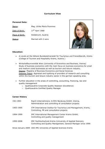 Mag. Ulrike Maria Prommer Date of Birth - IMC Fachhochschule ...