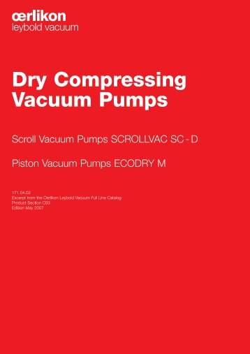 Dry Compressing Vacuum Pumps
