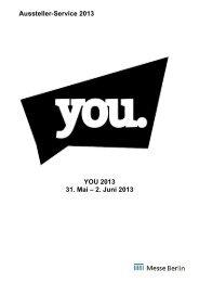 Aussteller-Service 2013 YOU 2013 31. Mai – 2. Juni 2013
