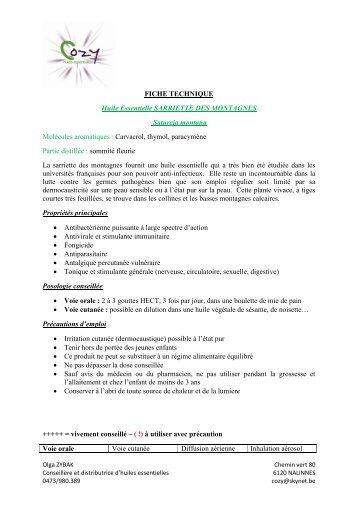 FICHE TECHNIQUE Huile Essentielle SARRIETTE ... - COZY Belgique