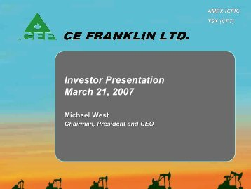 Investor Presentation - CE Franklin Ltd.
