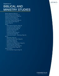 Department of Biblical and Ministry Studies - Cedarville University