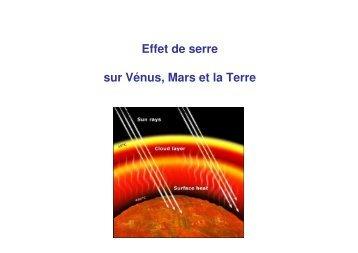 Effet de serre sur Vénus, Mars et la Terre - Cesr
