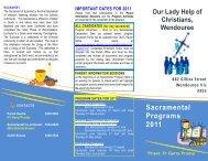 Sacramental Programs 2011 - Catholic Diocese of Ballarat