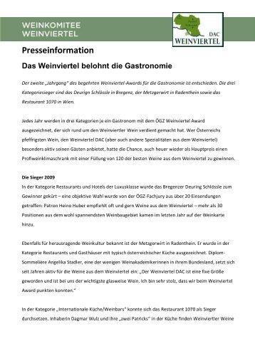 PT_ÖGZ_Weinviertel_Award_2009 [PDF/313.8kB] - Weinviertel DAC