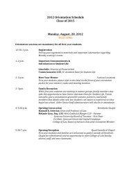 2012 Orientation Schedule Class of 2015 Monday, August, 20, 2012 ...