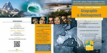 Plaquette de la licence géographie-aménagement