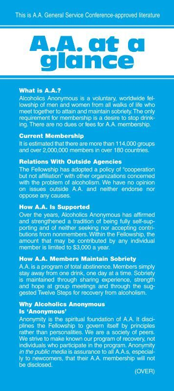 AA at a Glance - Alcoholics Anonymous