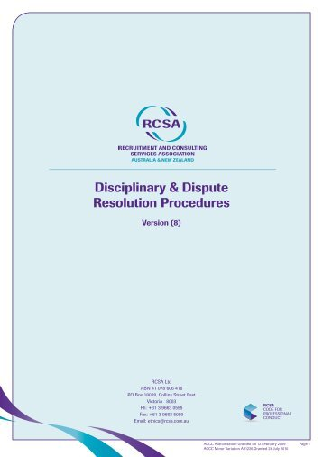 Disciplinary & Dispute Resolution Procedures - RCSA