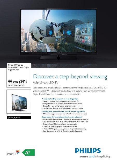 39PFL4208H/12 Philips Smart LED TV with Digital Crystal