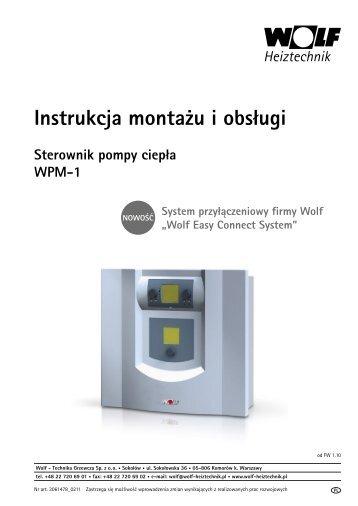 Instrukcja montażu i obsługi Sterownik pompy ciepła WPM-1 - Wolf