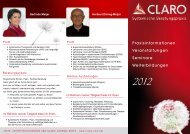 Praxisinformationen Veranstaltungen Seminare ... - Claro Karlsruhe