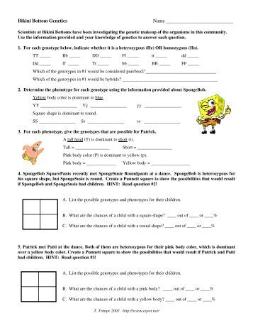 Worksheets Spongebob Genetics Worksheet spongebob bikini bottom genetics name the science spot