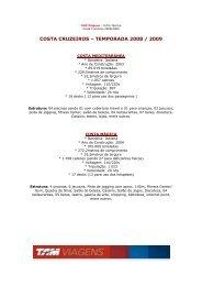 costa cruzeiros – temporada 2008 / 2009 - Informativo TAM Viagens ...