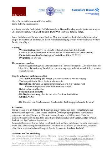 Letzte Informationen, Programm und ... - BuFaTa Chemie