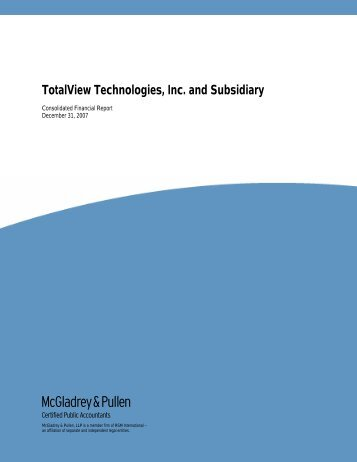 TotalView Technologies, Inc. and Subsidiary