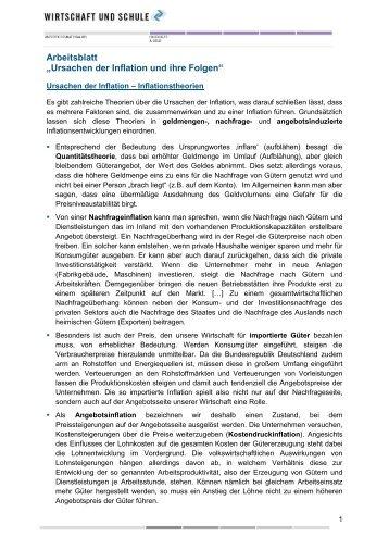 """Arbeitsblatt """"Arten der Arbeitslosigkeit"""" - Wirtschaft und ..."""