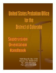 monthly supervision reports - District of Colorado