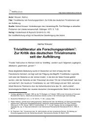 Trivialliteratur als Forschungsproblem1: Zur Kritik des deutschen ...