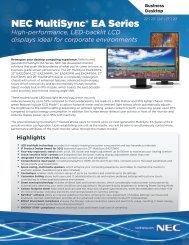 NEC MultiSync EA Series Brochure - NEC Display Solutions
