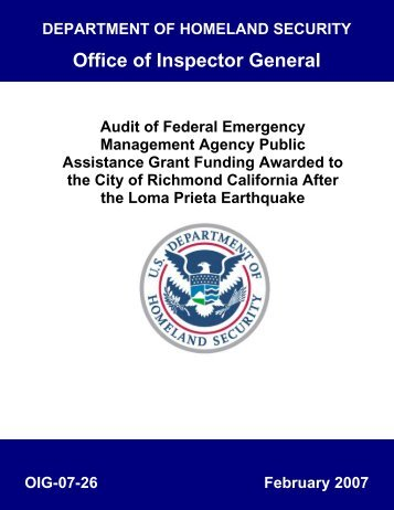 Audit of Federal Emergency Management Agency Public Assistance ...