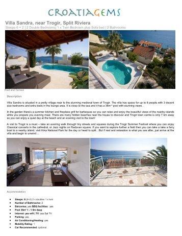 Villa Sandra, near Trogir, Split Riviera - Croatia Gems