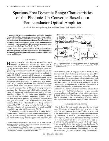 Spurious-free dynamic range characteristics of the ... - IEEE Xplore