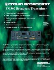 FM300 brochure green - Crown Broadcast