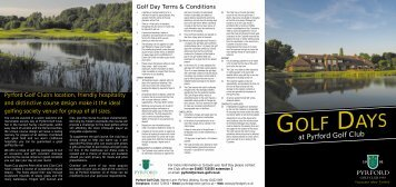 Golf Day Terms & Conditions