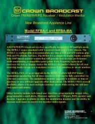 RFBA-1 Brochure - Crown Broadcast