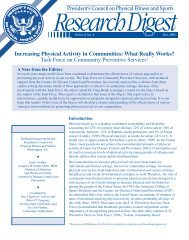 Increasing Physical Activity in Communities - The President's ...