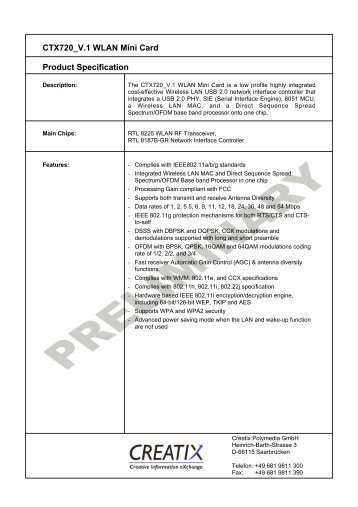 CTX720 V.1 WLAN Mini Card Product Specification - Creatix