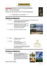 Vorläufiges Programm zum XV Festival del ... - Cuba Real Tours