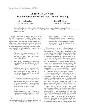 Student Performance and Work-Based Learning - Journal of ...