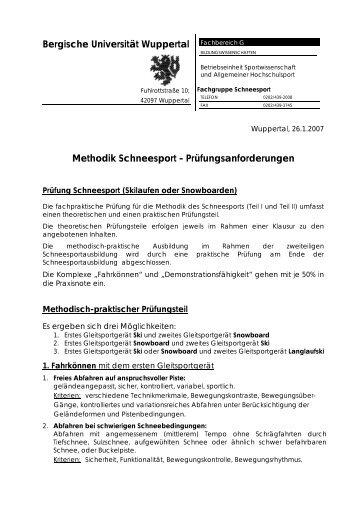 Schneesport - Fachbereich Sportwissenschaft der Universität ...