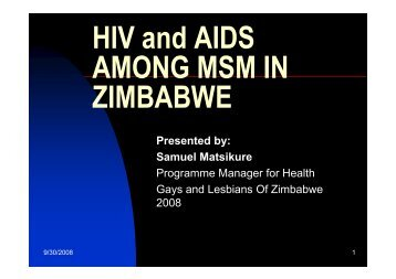 HIV and AIDS AMONG MSM IN ZIMBABWE - SAfAIDS